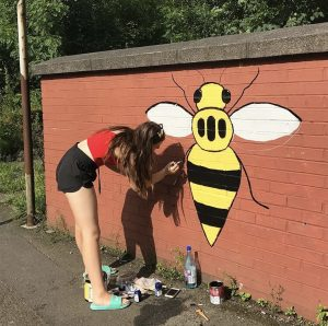 Bridgewater student paints Manchester bee mural
