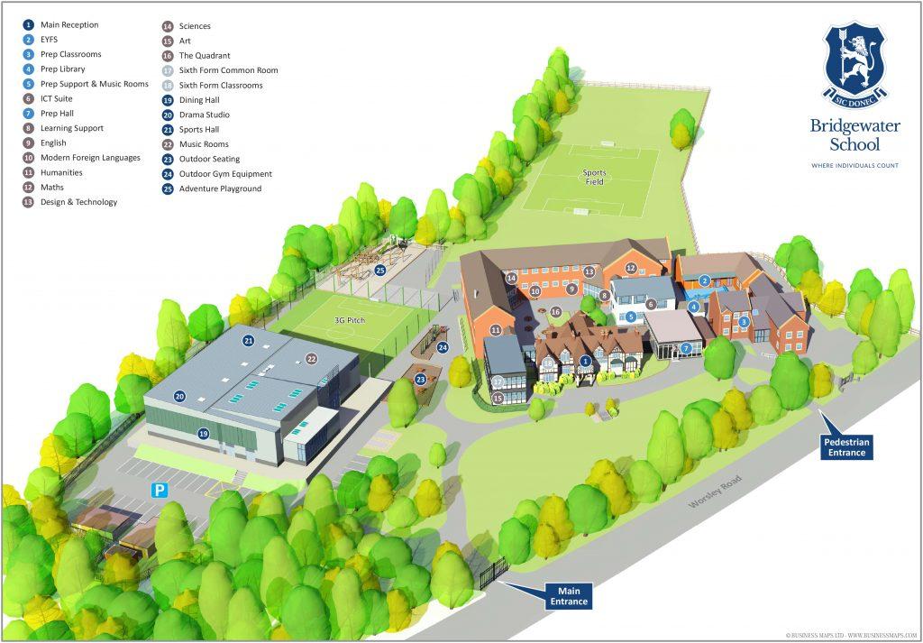 Bridgewater School 3D siteplan